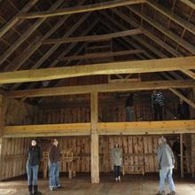 Exploring one of the barns at NipMoose